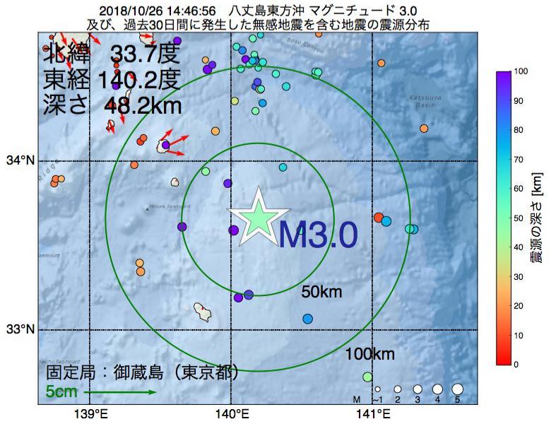 地震震源マップ:2018年10月26日 14時46分 八丈島東方沖でM3.0の地震