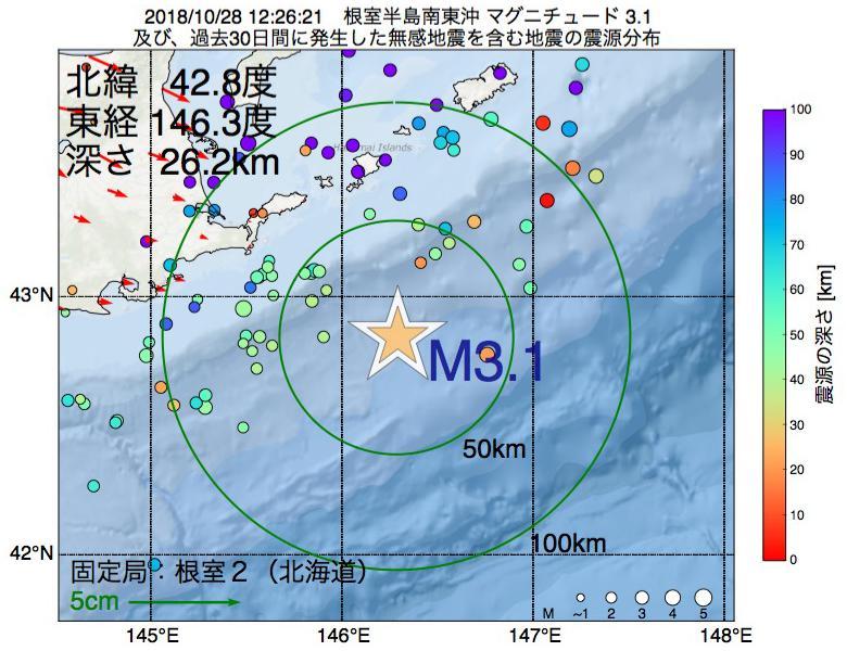 地震震源マップ:2018年10月28日 12時26分 根室半島南東沖でM3.1の地震