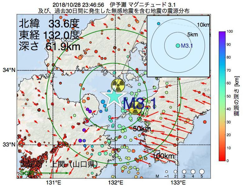 地震震源マップ:2018年10月28日 23時46分 伊予灘でM3.1の地震