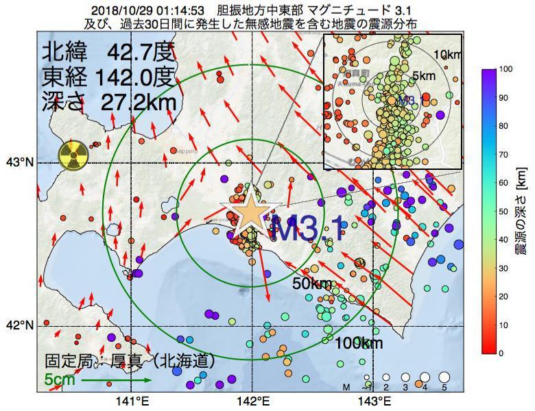 地震震源マップ:2018年10月29日 01時14分 胆振地方中東部でM3.1の地震