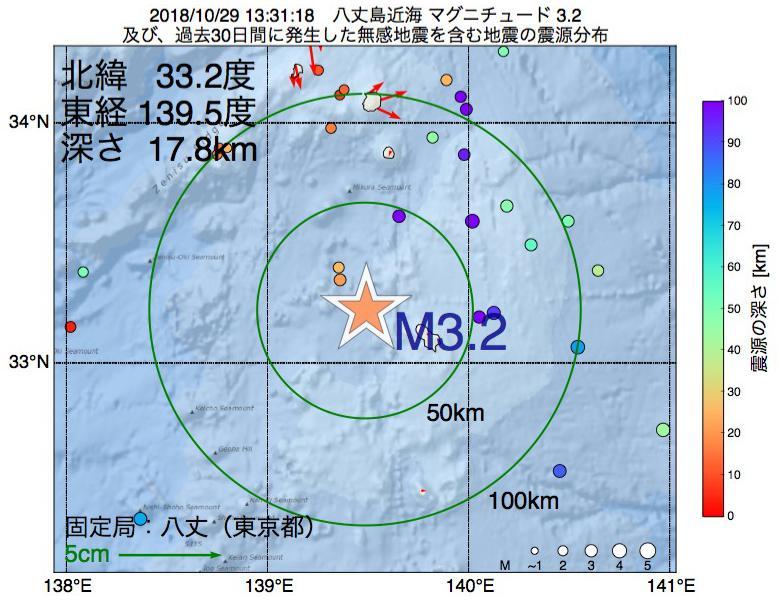 地震震源マップ:2018年10月29日 13時31分 八丈島近海でM3.2の地震