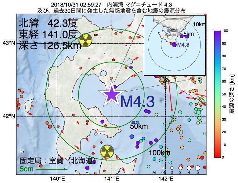 地震震源マップ:2018年10月31日 02時59分 内浦湾でM4.3の地震
