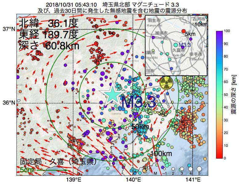 地震震源マップ:2018年10月31日 05時43分 埼玉県北部でM3.3の地震