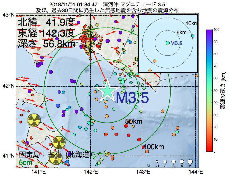 地震震源マップ:2018年11月01日 01時34分 浦河沖でM3.5の地震