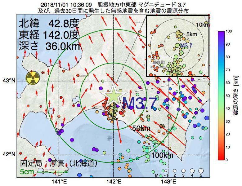 地震震源マップ:2018年11月01日 10時36分 胆振地方中東部でM3.7の地震