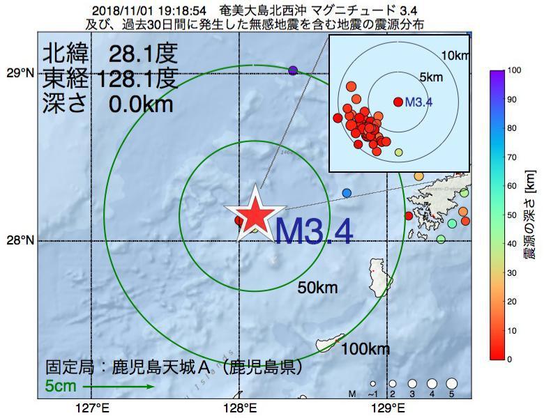 地震震源マップ:2018年11月01日 19時18分 奄美大島北西沖でM3.4の地震