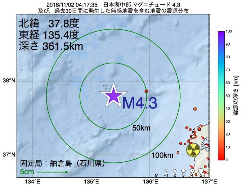 地震震源マップ:2018年11月02日 04時17分 日本海中部でM4.3の地震
