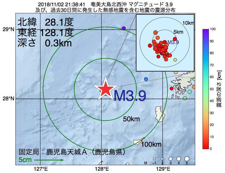 地震震源マップ:2018年11月02日 21時38分 奄美大島北西沖でM3.9の地震
