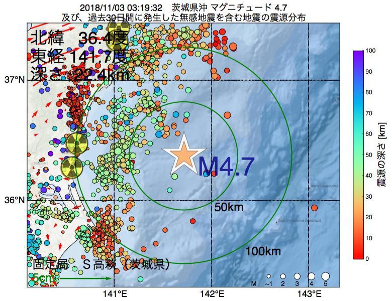 地震震源マップ:2018年11月03日 03時19分 茨城県沖でM4.7の地震