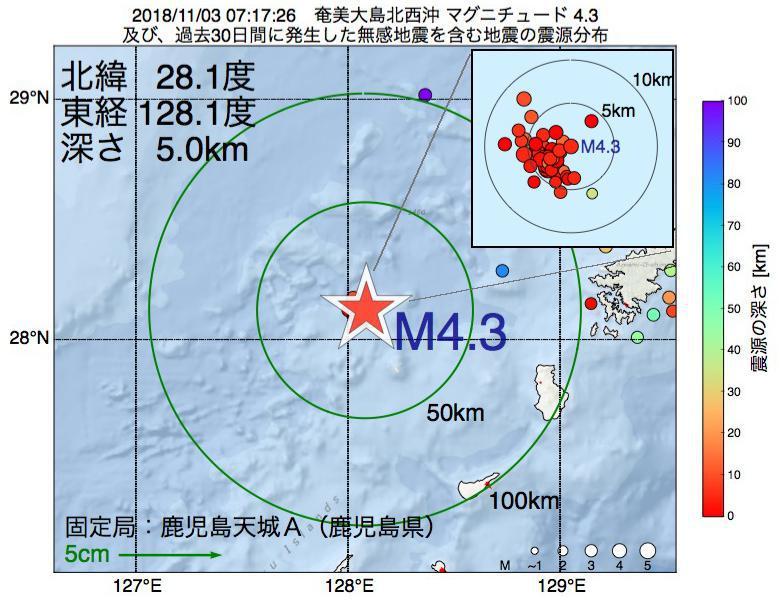 地震震源マップ:2018年11月03日 07時17分 奄美大島北西沖でM4.3の地震