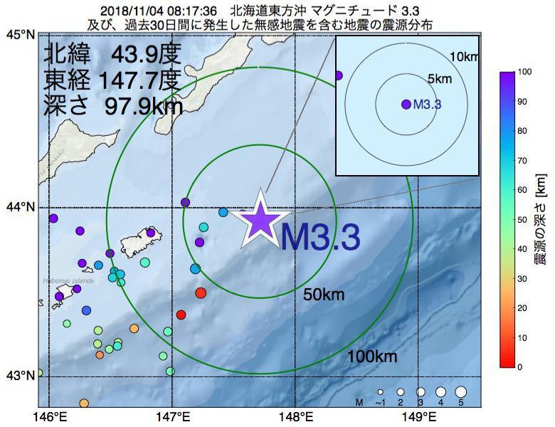 地震震源マップ:2018年11月04日 08時17分 北海道東方沖でM3.3の地震