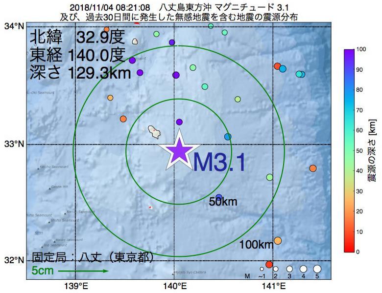 地震震源マップ:2018年11月04日 08時21分 八丈島東方沖でM3.1の地震