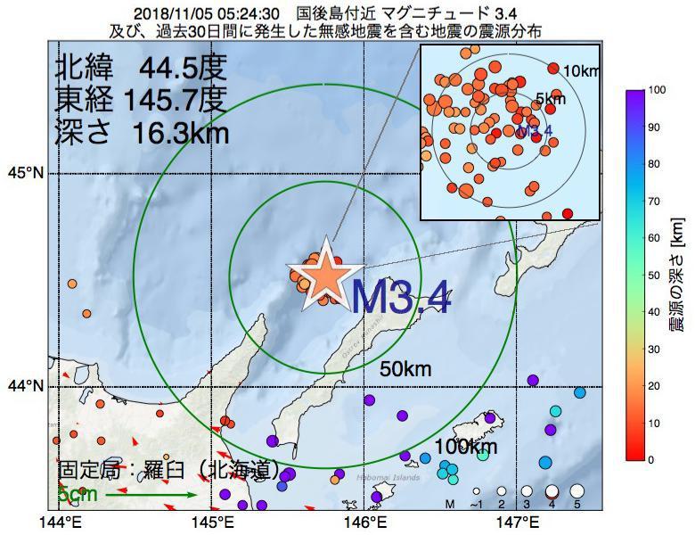 地震震源マップ:2018年11月05日 05時24分 国後島付近でM3.4の地震