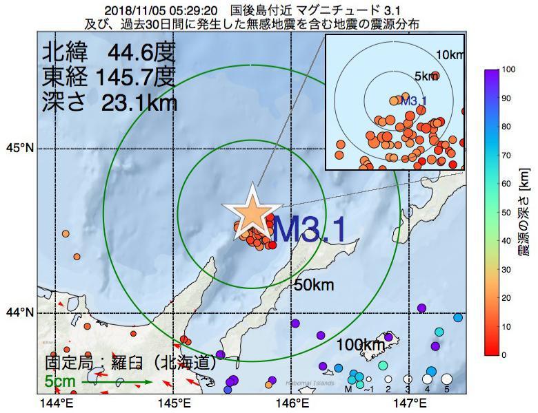地震震源マップ:2018年11月05日 05時29分 国後島付近でM3.1の地震