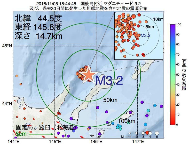 地震震源マップ:2018年11月05日 18時44分 国後島付近でM3.2の地震