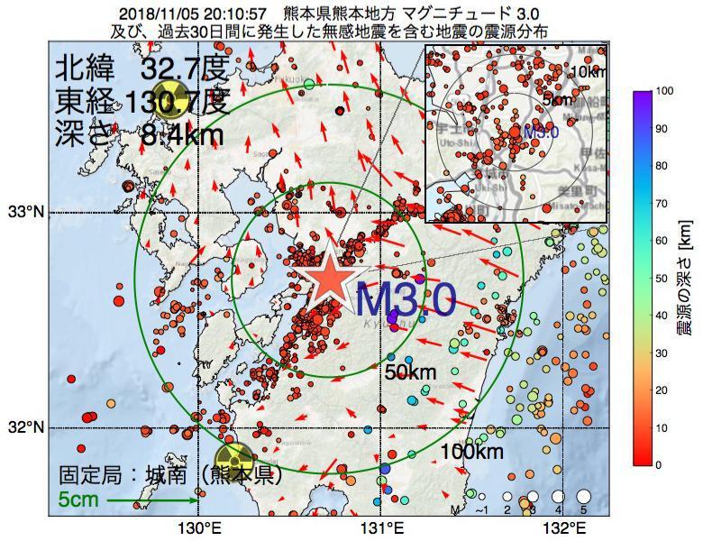 地震震源マップ:2018年11月05日 20時10分 熊本県熊本地方でM3.0の地震
