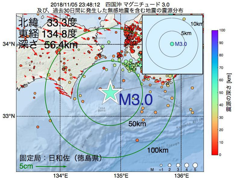 地震震源マップ:2018年11月05日 23時48分 四国沖でM3.0の地震