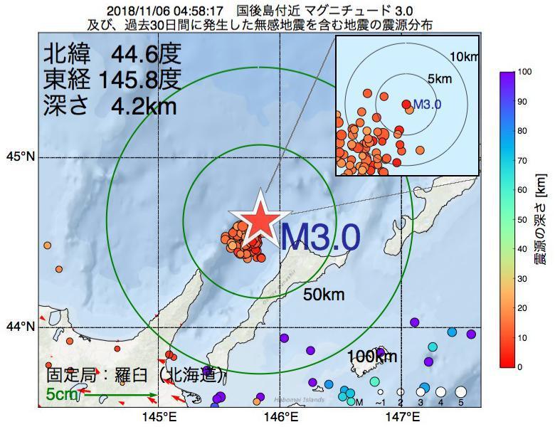 地震震源マップ:2018年11月06日 04時58分 国後島付近でM3.0の地震