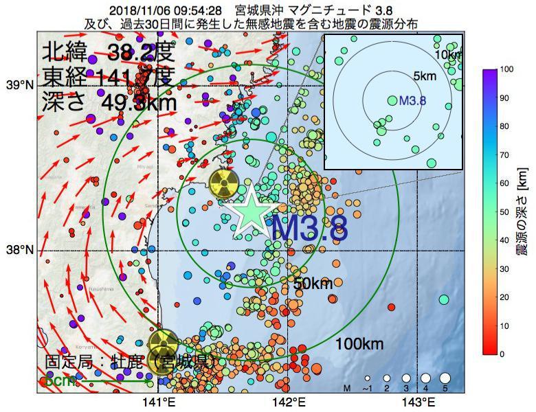 地震震源マップ:2018年11月06日 09時54分 宮城県沖でM3.8の地震
