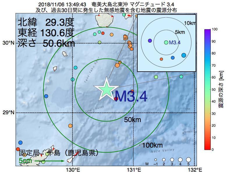 地震震源マップ:2018年11月06日 13時49分 奄美大島北東沖でM3.4の地震