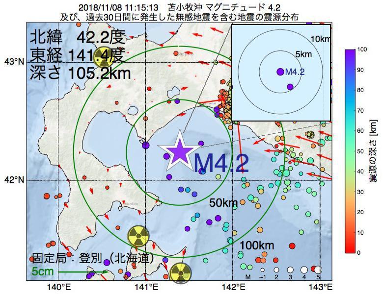 地震震源マップ:2018年11月08日 11時15分 苫小牧沖でM4.2の地震