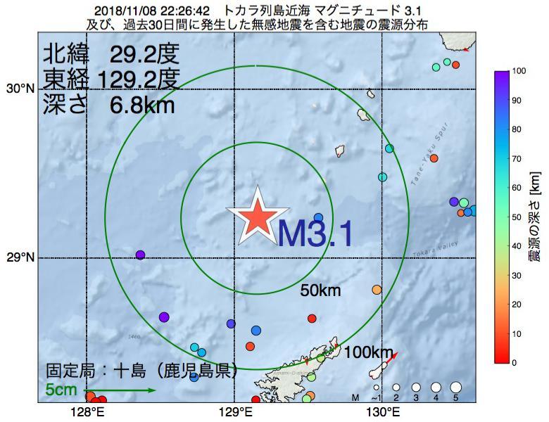 地震震源マップ:2018年11月08日 22時26分 トカラ列島近海でM3.1の地震