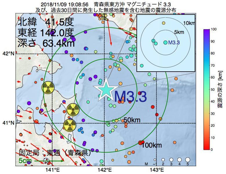 地震震源マップ:2018年11月09日 19時08分 青森県東方沖でM3.3の地震