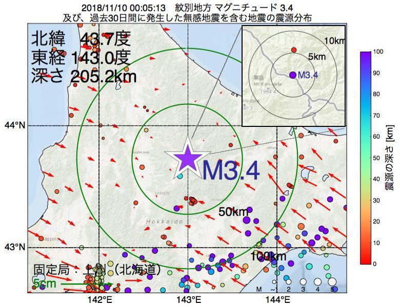 地震震源マップ:2018年11月10日 00時05分 紋別地方でM3.4の地震