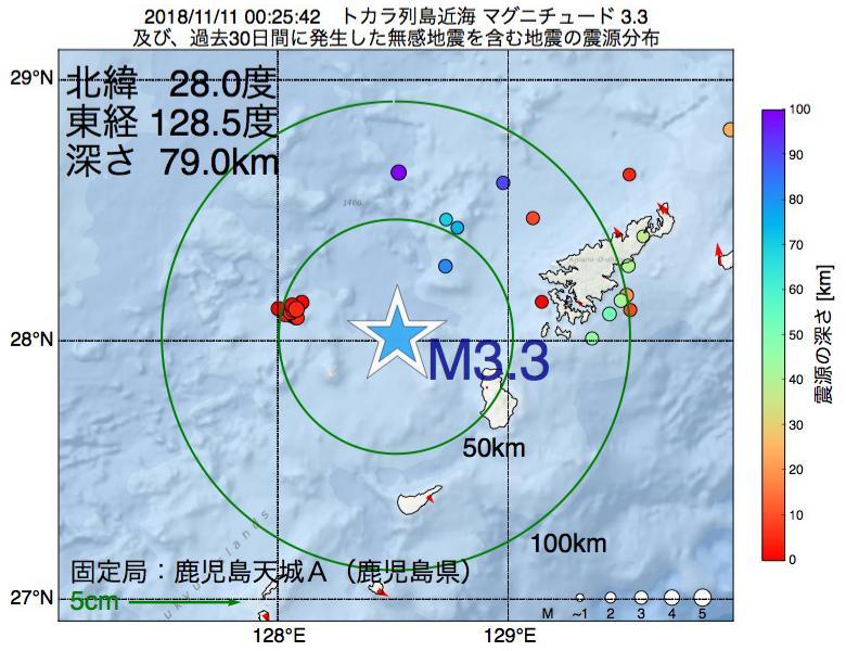 地震震源マップ:2018年11月11日 00時25分 トカラ列島近海でM3.3の地震