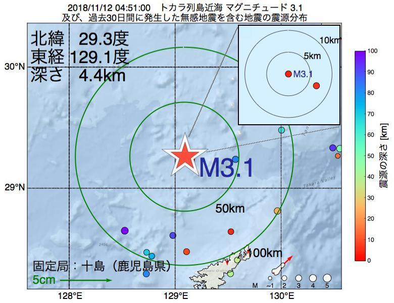 地震震源マップ:2018年11月12日 04時51分 トカラ列島近海でM3.1の地震