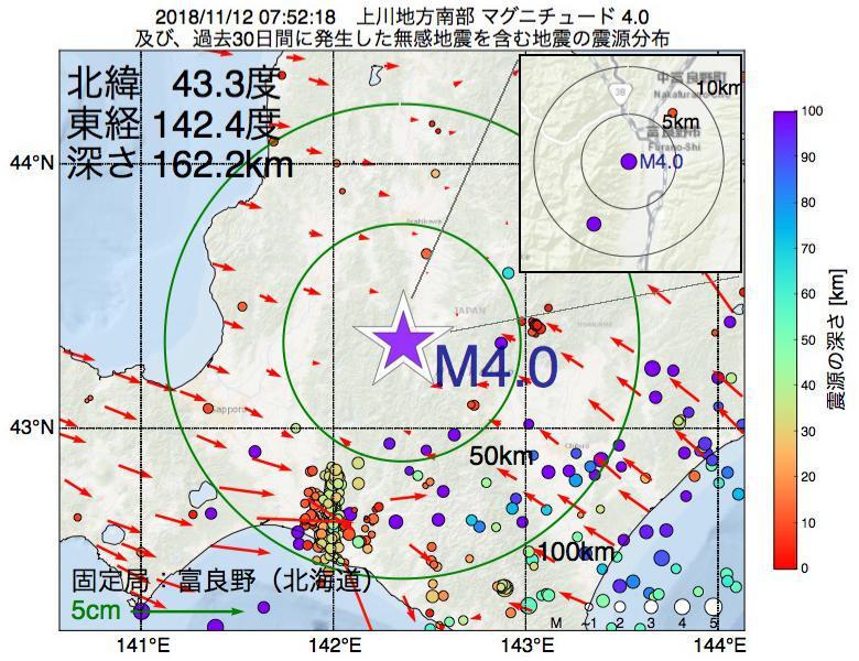 地震震源マップ:2018年11月12日 07時52分 上川地方南部でM4.0の地震
