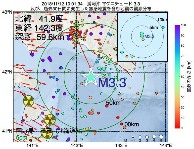 地震震源マップ:2018年11月12日 10時01分 浦河沖でM3.3の地震