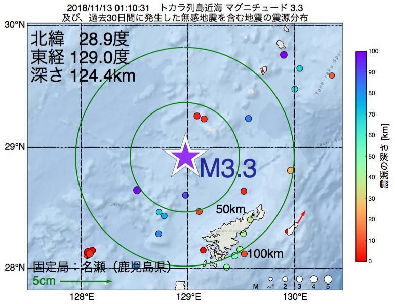 地震震源マップ:2018年11月13日 01時10分 トカラ列島近海でM3.3の地震