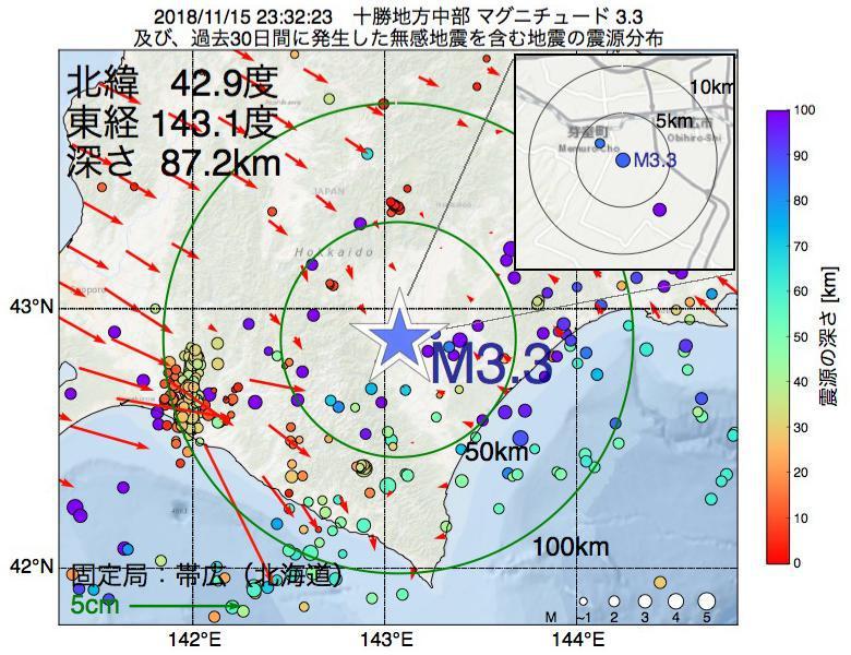 地震震源マップ:2018年11月15日 23時32分 十勝地方中部でM3.3の地震
