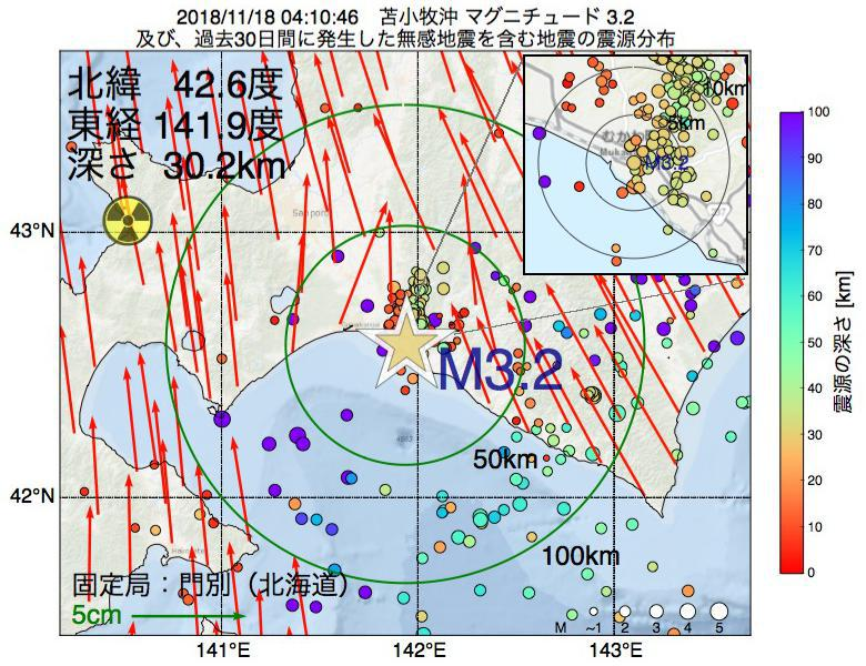 地震震源マップ:2018年11月18日 04時10分 苫小牧沖でM3.2の地震