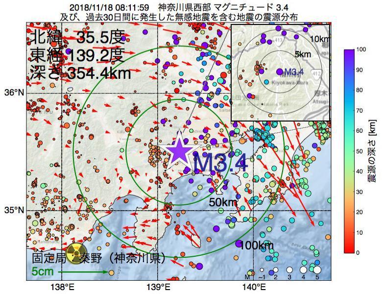 地震震源マップ:2018年11月18日 08時11分 神奈川県西部でM3.4の地震