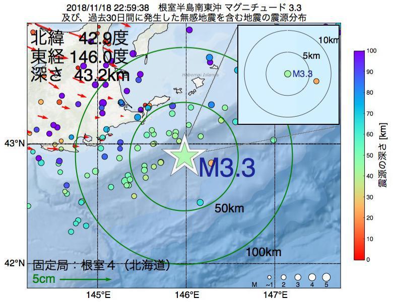 地震震源マップ:2018年11月18日 22時59分 根室半島南東沖でM3.3の地震