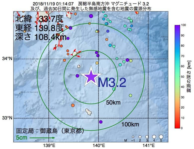 地震震源マップ:2018年11月19日 01時14分 房総半島南方沖でM3.2の地震