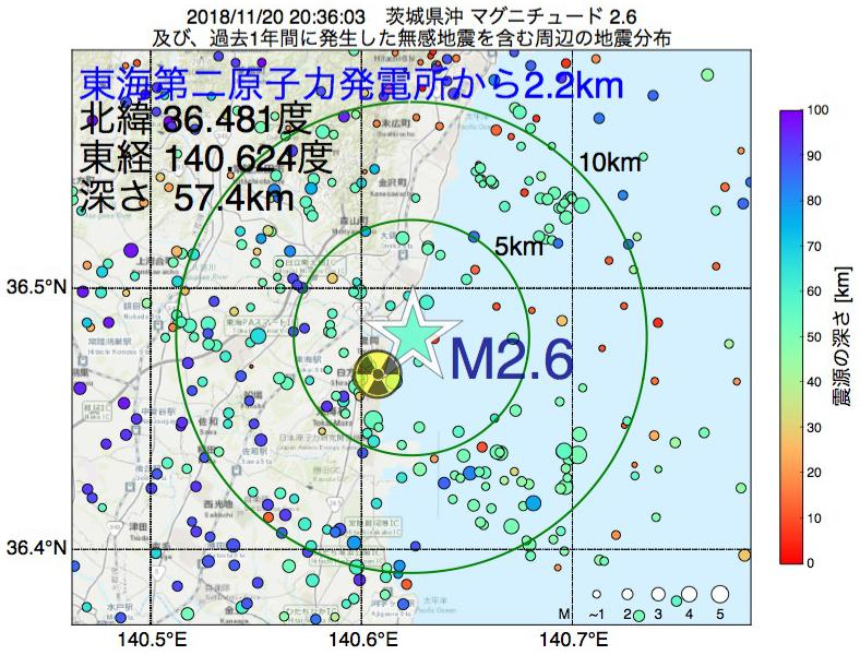 地震震源マップ:東海第二原子力発電所から2.2km地点でM2.6の地震が発生しました