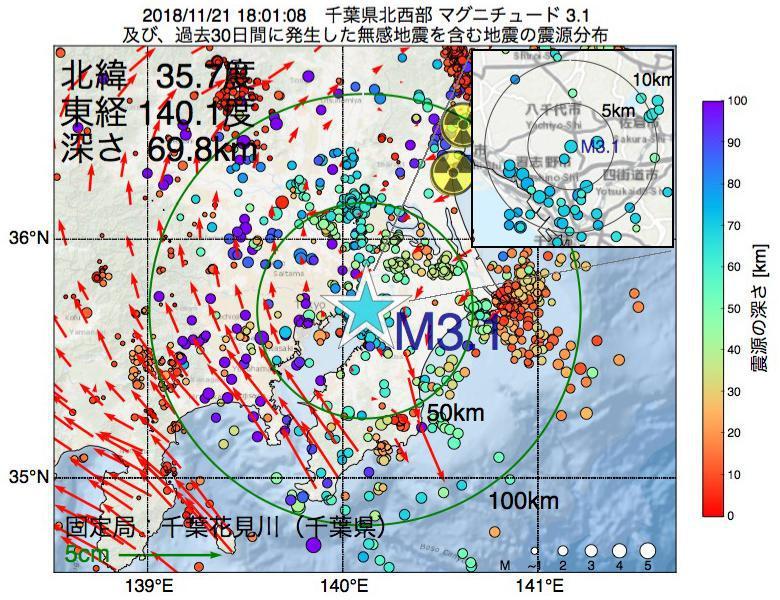 地震震源マップ:2018年11月21日 18時01分 千葉県北西部でM3.1の地震