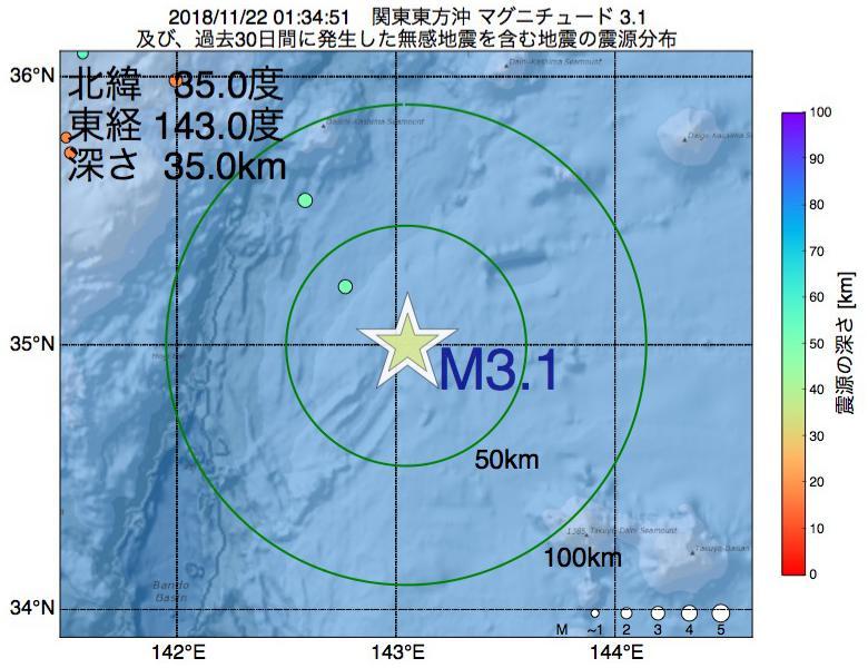 地震震源マップ:2018年11月22日 01時34分 関東東方沖でM3.1の地震