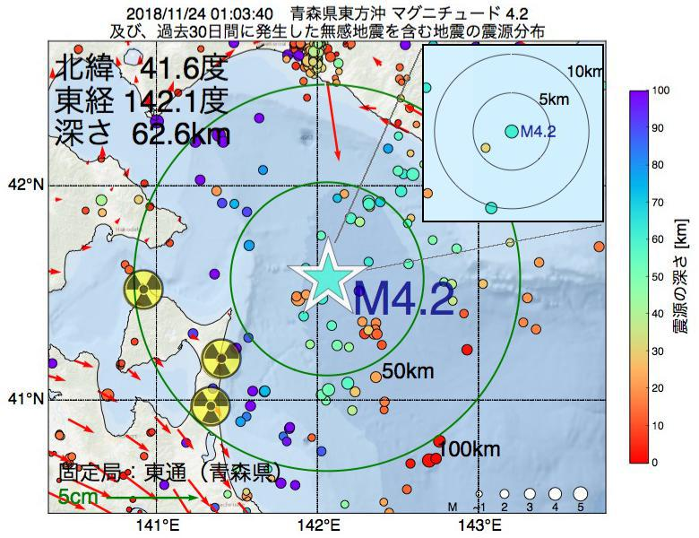 地震震源マップ:2018年11月24日 01時03分 青森県東方沖でM4.2の地震