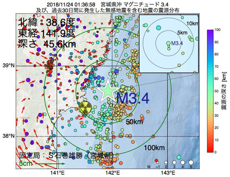 地震震源マップ:2018年11月24日 01時36分 宮城県沖でM3.4の地震