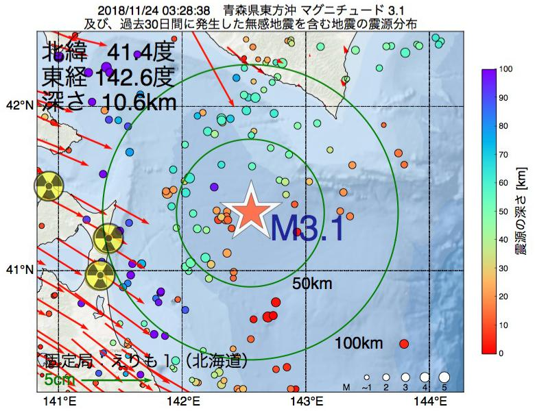 地震震源マップ:2018年11月24日 03時28分 青森県東方沖でM3.1の地震
