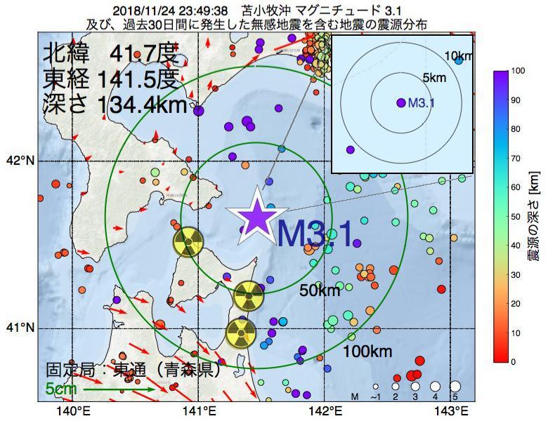 地震震源マップ:2018年11月24日 23時49分 苫小牧沖でM3.1の地震