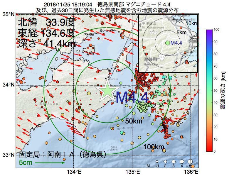 地震震源マップ:2018年11月25日 18時19分 徳島県南部でM4.4の地震