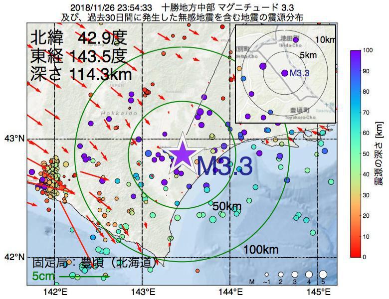 地震震源マップ:2018年11月26日 23時54分 十勝地方中部でM3.3の地震