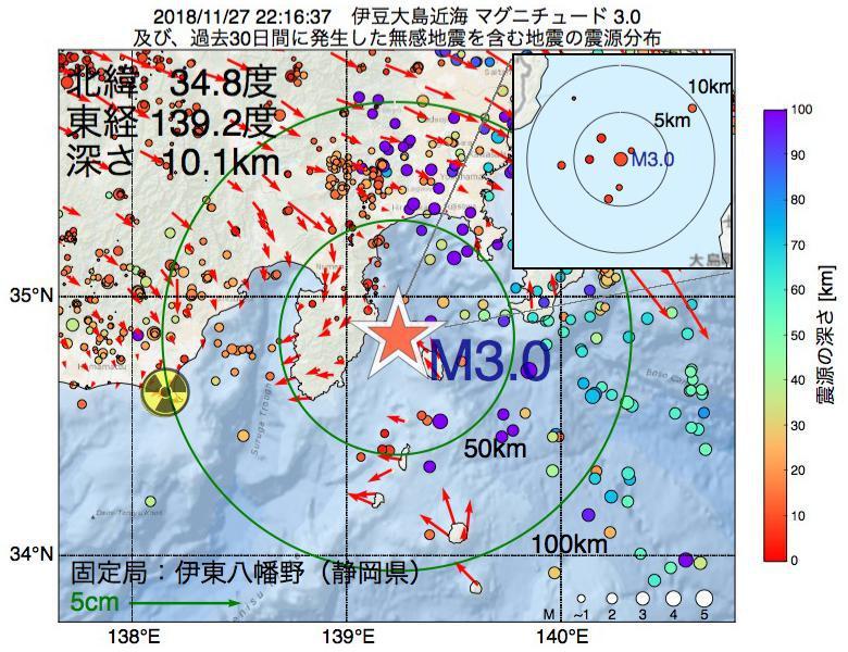 地震震源マップ:2018年11月27日 22時16分 伊豆大島近海でM3.0の地震