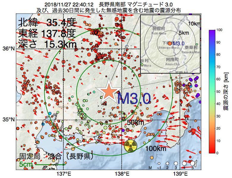 地震震源マップ:2018年11月27日 22時40分 長野県南部でM3.0の地震