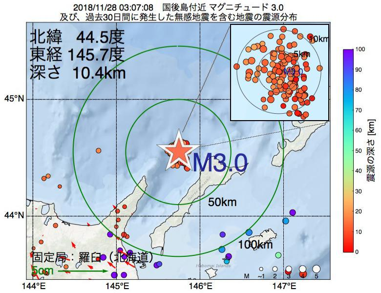 地震震源マップ:2018年11月28日 03時07分 国後島付近でM3.0の地震